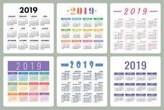 Kalendarz 2019 Kolorowy set Na Niedziela tydzień początek Podstawowa siatka Ilustracja Wektor