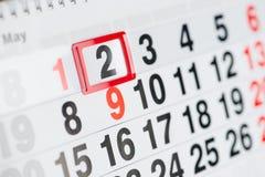 Kalendarz 2 Maj zdjęcia stock
