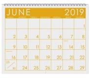 2019: Kalendarz: Miesiąc Czerwiec obraz stock