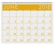 2018 kalendarz: Miesiąc Czerwiec Z Chorągwianym dniem Obrazy Royalty Free