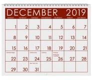 2019: Kalendarz: Miesiąc Grudzień fotografia stock
