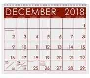 2018 kalendarz: Miesiąc Grudzień Z bożymi narodzeniami Zdjęcia Stock