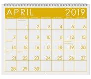 2019: Kalendarz: Miesiąc Kwiecień obraz stock