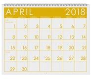 2018 kalendarz: Miesiąc Kwiecień Z wielkanocą Fotografia Stock