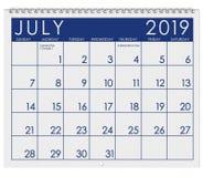 2019: Kalendarz: Miesiąc Lipiec obrazy stock