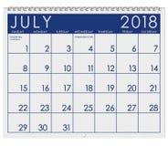 2018 kalendarz: Miesiąc Lipiec Z dniem niepodległości Zdjęcie Stock