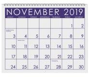 2019: Kalendarz: Miesiąc Listopad obrazy stock