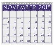 2018: Kalendarz: Miesiąc Listopad Z dziękczynieniem Obraz Royalty Free