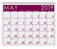 2019: Kalendarz: Miesiąc Maj obraz royalty free