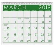 2019: Kalendarz: Miesiąc Marzec zdjęcie stock