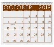 2019: Kalendarz: Miesiąc Październik obraz stock