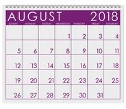 2018 kalendarz: Miesiąc Sierpień Zdjęcia Stock