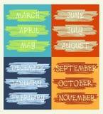 Kalendarz, miesiące rok, ręcznie pisany tekst Zdjęcia Royalty Free