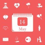 kalendarz 14 może ikona Szczegółowy set macierzystego dnia ikony Premia graficzny projekt Jeden inkasowe ikony dla stron internet ilustracji