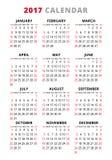 2017 kalendarz na białym tle Tydzień Zaczyna Niedziela Zdjęcie Royalty Free