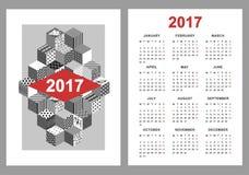 Kalendarz 2017 na białym tle Fotografia Stock