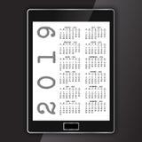 Kalendarz na rodzajowej elektronicznej pastylce ilustracji