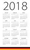Kalendarz 2018 - Niemiecka wersja Zdjęcia Royalty Free