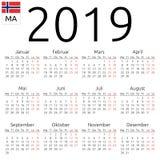 Kalendarz 2019, norweg, Poniedziałek Zdjęcie Royalty Free