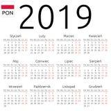 Kalendarz 2019, połysk, Poniedziałek Obrazy Stock