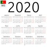 Kalendarz 2020, portugalczyk, Poniedziałek fotografia stock