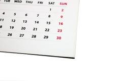 Kalendarz przeciw białemu tłu Fotografia Royalty Free