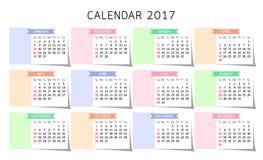 Kalendarz 2017 rok Obraz Stock