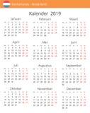 Kalendarz 2019 rok dla holandia kraju ilustracji