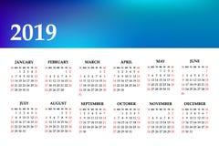 Kalendarz 2019 rok na białym tle Tydzień Zaczyna Niedziela obraz royalty free