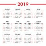 Kalendarz 2019 rok na białym tle Tydzień Zaczyna Niedziela obrazy royalty free