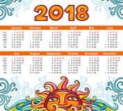 Kalendarz 2018 rok niebiański styl Tydzień Zaczyna Niedziela royalty ilustracja