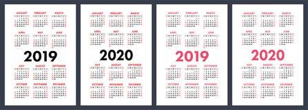 Kalendarz 2019, 2020 rok Podstawowy wektoru set Tygodni początki na Sund ilustracja wektor