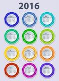 Kalendarz 2016 rok projekta wektorowy szablon Zdjęcie Stock