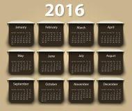 Kalendarz 2016 rok projekta wektorowy szablon Obraz Royalty Free