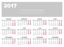 Kalendarz 2017 rok projekta wektorowy szablon Zdjęcie Stock