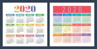 Kalendarz 2020 rok Wektorowy dzieciaka projekta szablonu set Kolorowy kieszeń kalendarz Na Niedziela tydzie? pocz?tek royalty ilustracja