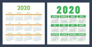 Kalendarz 2020 rok Wektorowy projekta szablonu set Kieszeniowy kalendarz Na Niedziela tydzie? pocz?tek ilustracja wektor