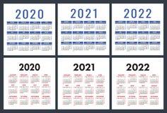 Kalendarz 2020, 2021, 2022 roku Kieszeniowy kalendarz Angielski wektoru set Na Niedziela tydzie? pocz?tek Podstawowa siatka royalty ilustracja