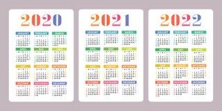 Kalendarz 2020, 2021, 2022 roku Pionowo wektoru kalendarza projekt ilustracja wektor