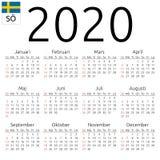 Kalendarz 2020, szwedzi, Niedziela zdjęcia stock