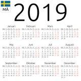 Kalendarz 2019, szwedzi, Poniedziałek Obraz Royalty Free