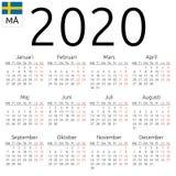 Kalendarz 2020, szwedzi, Poniedziałek fotografia stock