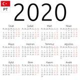 Kalendarz 2020, turecczyzna, Poniedziałek zdjęcie royalty free