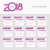 2018 kalendarz - tydzień zaczyna Poniedziałek Obrazy Royalty Free