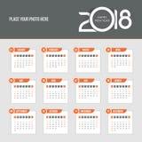 2018 kalendarz - tydzień zaczyna Niedziela Zdjęcie Stock