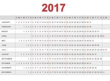 Kalendarz 2017 Tydzień zaczyna od Niedziela Obrazy Stock