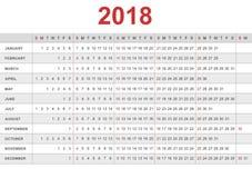 Kalendarz 2018 Tydzień zaczyna od Niedziela Zdjęcie Royalty Free