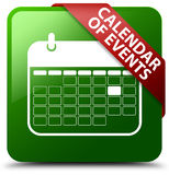 Kalendarz wydarzenie zieleni kwadrata guzik Obraz Stock