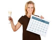 2017 kalendarz: Wznosić toast nowego roku 2016 Obrazy Stock