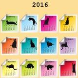 2016 kalendarz z czarnych kotów sylwetkami ilustracja wektor